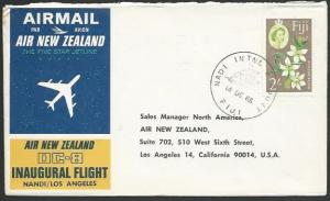FIJI 1965 Air New Zealand first flight cover Nadi to Los Angeles...........25750
