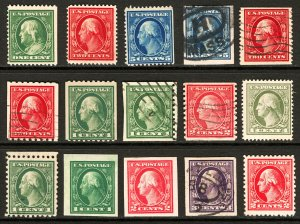 #331 / #527 1908-1920 1c-5c Assorted Washington-Franklin Better Sgls, Coils, Imp