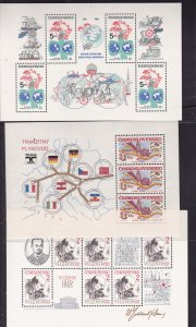 Czechoslovakia x 8 pristine MNH mini sheets from about 1980's