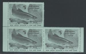 $5 Non-Resident New Jersey Trout Stamp 1970 #36, Partial ...