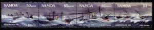 SAMOA QEII SG822a, 1989 centenary of Apia hurricane strip of 4, NH MINT.