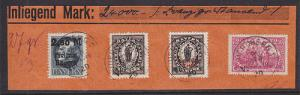 Bavaria Sc 233, 250, 270 + Germany Sc 114 on Small Piece, Mixed Franking VF