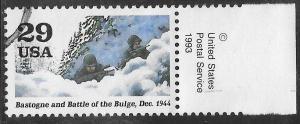 US 2838j Used - World War II 1944 - Soldiers in snow (Bastogne & Battle/Bulge)