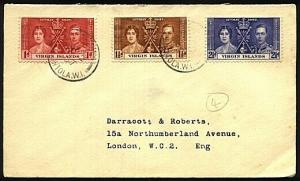 VIRGIN IS 1937 Coronation set on FDC.......................................18807