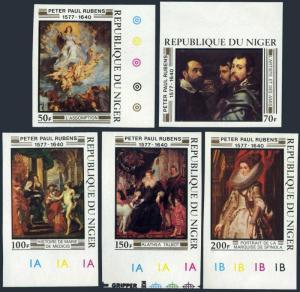 Niger 426-430 imperf,MNH.Michel 607B-611B. Rubens,1577-1640.Paintings,1978.