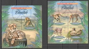 UG025 2012 UGANDA CHEETAH WILD CATS ENDANGERED & VULNERABLE #2985-8+BL410 MNH