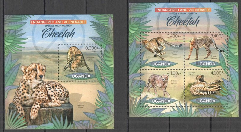 UG025 2012 UGANDA CHEETAH WILD CATS ENDANGERED & VULNERABLE #2985-8+BL410 MNH