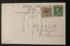 1909 Rochester NY USA Picture Postcard Cover Christmas seal #wx5 To Pontiac
