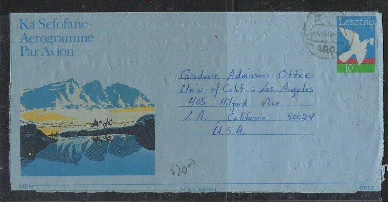 LESOTHO COVER (P1604B)  1980 BIRD 10C AEROGRAM MORIJA TO USA