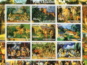 Kyrgyzstan 2002 PAUL CEZANNE PAINTINGS Sheet Perforated Mint (NH)