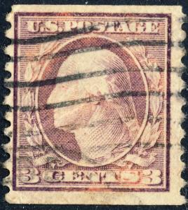 USA - 1917 - Scott 493 3c violet type 1 coil perf 10 vertically - Used