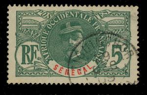 SÉNÉGAL - 1909 - CACHET À DATE DE ZIGUINCHOR SUR 5c FAIDHERBE (CASAMANCE)