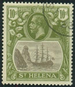 ST HELENA-1922-37 10/- Grey & Olive-Green.  A fine used example Sg 112