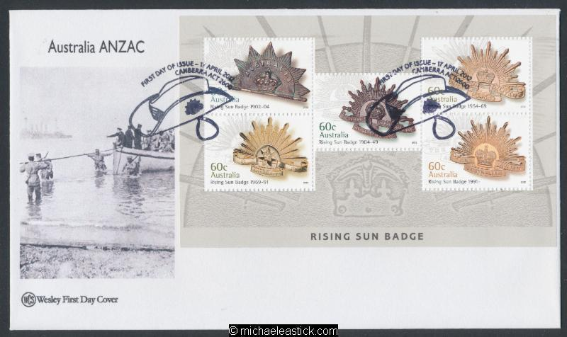 17-Apr-2012 Australia Rising Sun Badge Miniature Sheet Wesley First Day Cover