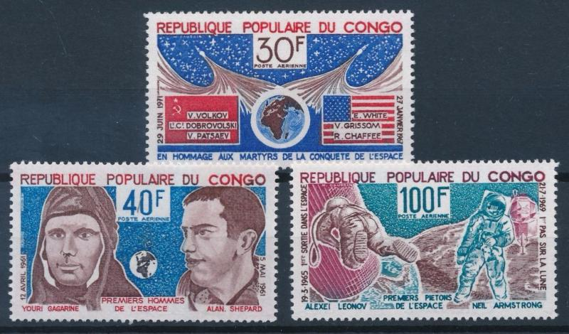 [64276] Congo Brazzaville 1974 Space Travel Weltraum Gagarin Armstrong  MNH