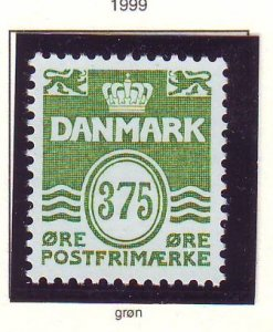 Denmark Sc 1112 1999 375 ore green Wavy Lines stamp mint NH