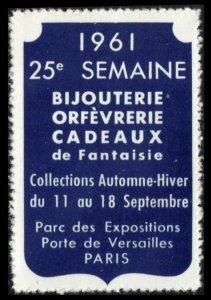 FRANCE, PARIS 25e SEMAINE BIJOUTERIE 11-18 SEP 1961 MNH POSTER STAMP CINDERELLA
