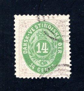 Danish West Indies #12,  F/VF,  Used  CV $1250.00 ....1630012
