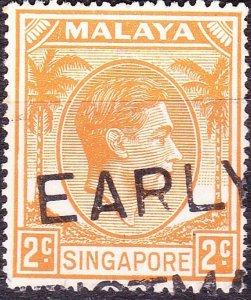 SINGAPORE 1949 KGVI 2c Grey SG17 Used