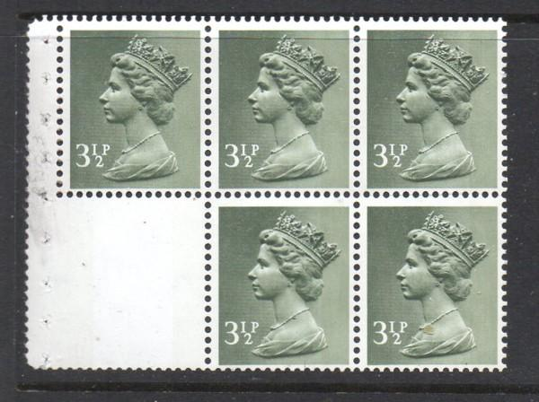 Great Britain Sc MH39a 1974 3 1/2 d Machin stamp booklet pane mint NH