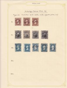 mexico hidalgo issue 1874-83 stamps page ref 17132