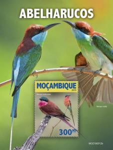 MOZAMBIQUE - 2019 - Bee Eaters - Perf Souv Sheet - MNH