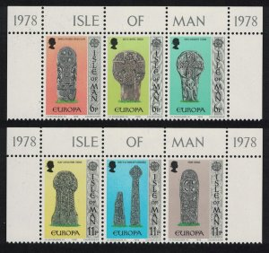 Isle of Man Europa Celtic and Norse Crosses 6v Top strips 1978 MNH