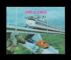 UMM AL QUWAIN 3D STAMP UNUSED. TOPIC: TRAIN