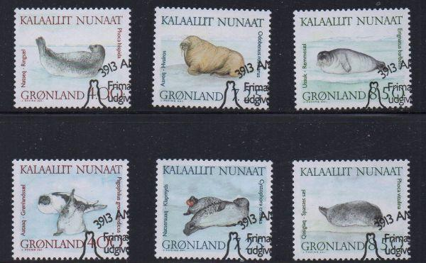 Greenland Sc 233-8 1991 Walrus Seals stamp set used