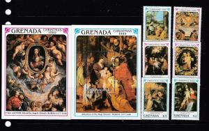 Grenada 1990 Christmas Rubens paintings art 6v+2s/s MNH