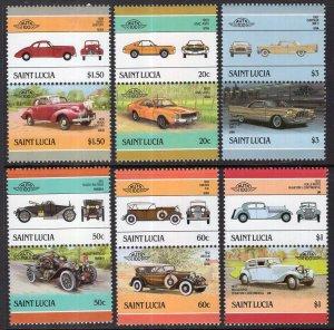 St Lucia 850-855 Cars MNH VF