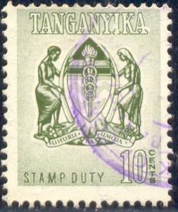 Tanganyika stamp Duty, 10C, Used