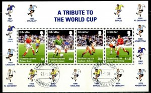 GIBRALTAR Sc#749a 1998 World Cup Soccer Souvenir Sheet Complete Used