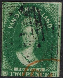 TASMANIA 1855 QV CHALON 2D WMK LARGE STAR IMPERF USED