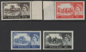 GB SG595/8 1959 CASTLES 2nd DE LA RUE SET MNH