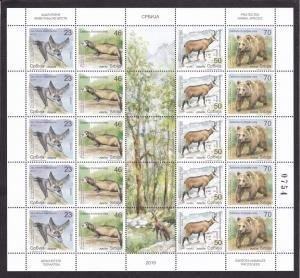 Serbia 2019 Fauna Animals Bats Polecats Chamois Bears Nature Mammals sheet MNH