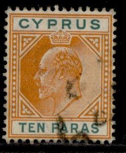 CYPRUS EDVII SG61, 10pa orange & green, FINE USED.