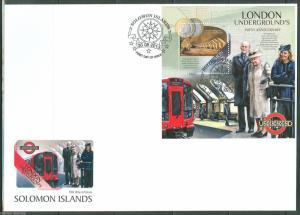 SOLOMON ISLANDS  2013 150th ANNIVERSARY LONDON UNDERGROUND QE II & KATE S/S FDC