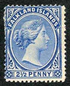 Falkland Is SG28 2 1/2d Dull Blue M/Mint (gum thin)