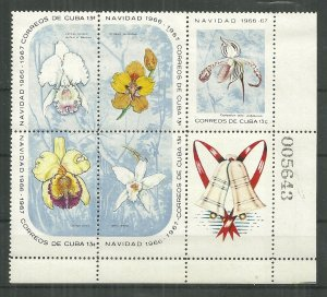 1966 Cuba #1196a Christmas Orchids block of 5 with label MNH SCV$27.50