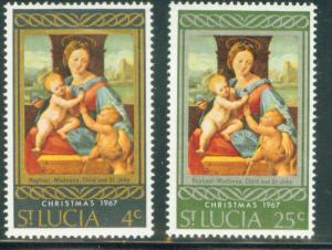 Saint Lucia Scott 227-8 MNH**1967 Christmas set