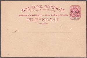 TRANSVAAL 1d postcard overprinted V.R.I. unused..............................721