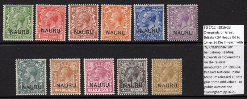 NAURU SG1/12 1916-23 DEFINITIVE SET OFSET NP IMPRIMATUR ON REVERSE MNH
