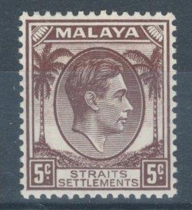 Straits Settlements 1937 King George VI 5c Scott # 241 MH