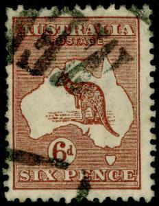 AUSTRALIA SG73, 6d chestnut, USED.