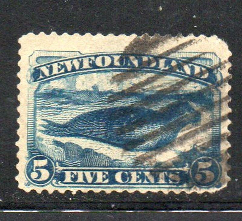 Newfoundland Sc  54 1887 5c dark blue seal stamp used