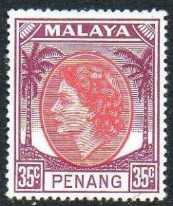 Penang 1955 35c rose-red and brown-purple MH