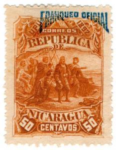 (I.B) Nicaragua Postal : Official Overprint 50c