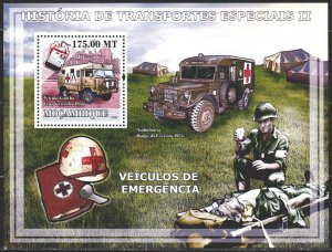 Mozambique. 2009. bl246. Red cross, military medicine, cars. MNH.