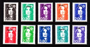 Mayotte MNH Scott #75-#84 Set of 10 MAYOTTE overprint on French Mariannes